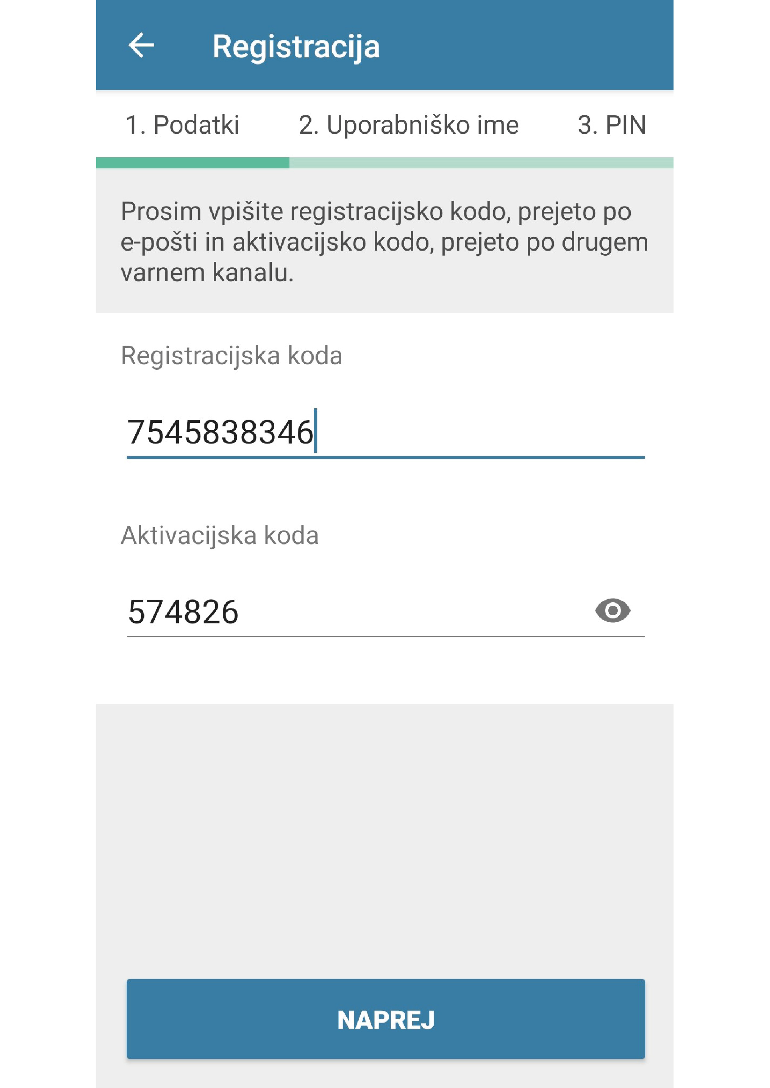 1. Registracija